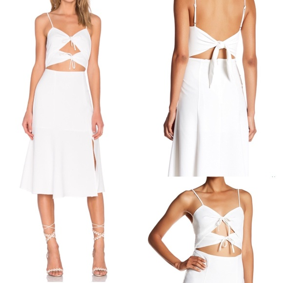 NWT nbd tie me down dress cut out white strappy s 24f983502